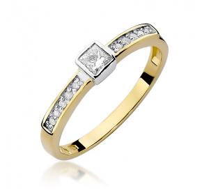 Złoty pierścionek z brylantem 0,24ct pr 585