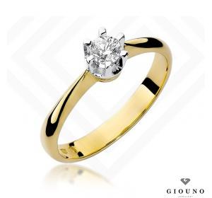 Złoty pierścionek z brylantem 0,23ct pr 585