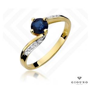 Złoty pierścionek z SZAFIREM i brylantami pr 585