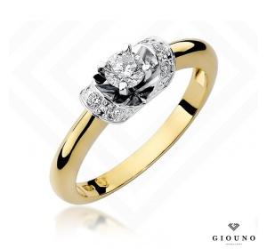 Złoty pierścionek z brylantem 0,33ct pr 585