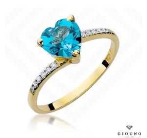 Złoty pierścionek z brylantem i topazem pr 585 SERCE