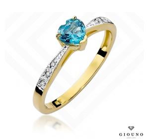 Złoty pierścionek z brylantami i topazem pr 585 SERCE
