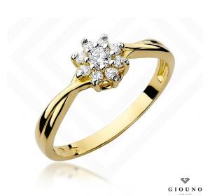 Złoty pierścionek z brylantem 0,22ct pr 585