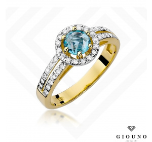 Złoty pierścionek z BRYLANTAMI i TOPAZEM pr 585