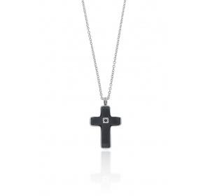 Naszyjnik męski - krzyżyk carbon / BESTSELLER