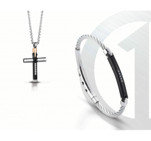 SREBRNY KOMPLET męskiej biżuterii SREBRNA STAL krzyżyk bransoletka