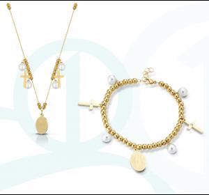 Komplet damski ze złotej stali bransoletka i naszyjnik - krzyżyk , medalik , perła