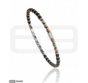 Bransoletka  z koralików SREBRNA STAL 316L