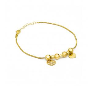 Bransoletka złota z kulkami i zawieszkami - ażurowe i pełne serce
