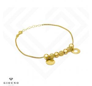 Bransoletka złota z kulkami i zawieszkami - ring i pełne koło