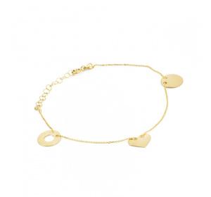 Złota celebrytka / bransoletka - koło , serce i ring