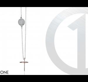 Łańcuszek MĘSKI KRZYŻYK MEDALIK srebrna stal