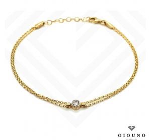 Złota bransoletka łańcuszek z CYRKONIĄ pr.585