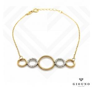 Złota bransoletka na łańcuszku pr.585 KÓŁECZKA białe złoto