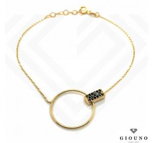 Złota bransoletka KÓŁECZKO łańcuszek pr.585 czarne cyrkonie
