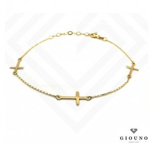 Złota bransoletka z KRZYŻYKIEM pr.585 celebrytka