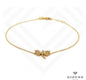 Złota bransoletka na łańcuszku pr.585 ważka z CYRKONIAMI
