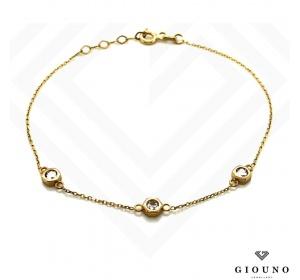 Złota  celebrytka na rękę  łańcuszek 3 duże cyrkonie pr.585