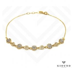 Złota bransoletka z KWIATUSZKAMI łańcuszek pr.585 cyrkonie