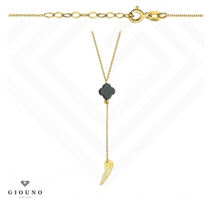 Złoty naszyjnik SKRZYDŁO koniczynka pr.585