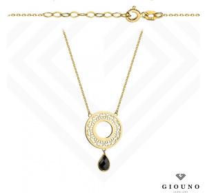 Złoty naszyjnik z czarną CYRKONIĄ celebrytka kółko pr.585