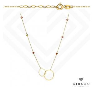 Złoty naszyjnik z KÓŁECZKIEM  kolorowe cyrkonie pr.585