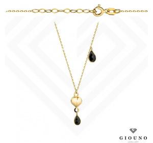 Złota celebrytka z SERDUSZKIEM czarne kamienie pr.585
