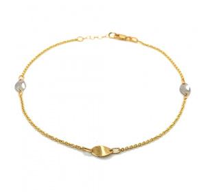 Złota bransoletka na nogę - łańcuszek / owale / dwa kolory złota