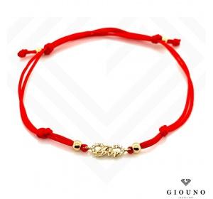 Złota bransoletka 585 na czerwonym sznurku NIESKOŃCZONOŚĆ