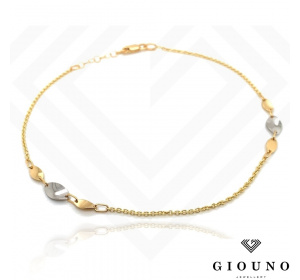 Złota bransoletka na nogę - łańcuszek / owale w dwóch kolorach złota