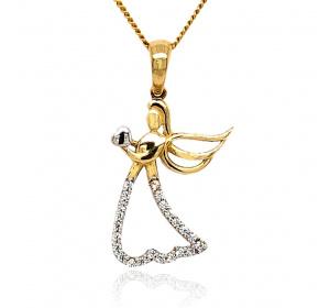 Zawieszka złota - aniołek z serduszkiem i cyrkoniami