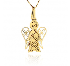 Zawieszka złota - aniołek ażurowy