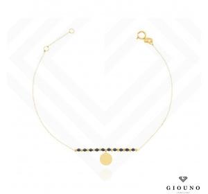 Złota bransoletka / celebrytka - płaskie kółeczko czarne kamienie