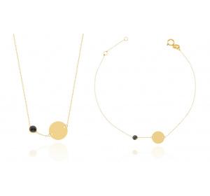 Komplet damski złoty : naszyjnik z kółeczkiem  i czarną cyrkonią + bransoletka