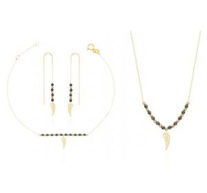 Komplet damski złoty : naszyjnik ze skrzydełkiem + bransoletka + kolczyki