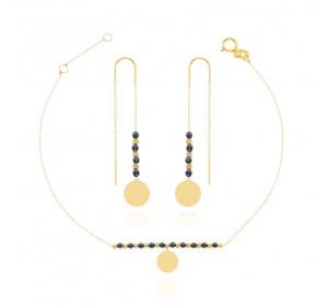 Komplet damski złoty :  bransoletka z kółeczkiem + kolczyki