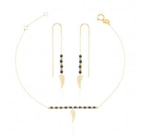 Komplet damski złoty : bransoletka ze skrzydełkiem  + kolczyki
