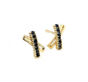 Złote kolczyki z czarnymi cyrkoniami na sztyft