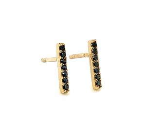 Złote kolczyki prostokąty z czarnymi cyrkoniami na sztyft