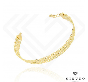 Złota bransoletka pleciona płaska gruba
