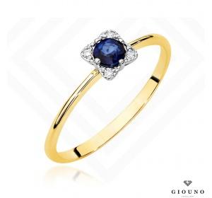 Złoty pierścionek  z BRYLANTEM  i  SZAFIREM pr 585