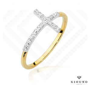 Złoty pierścionek KRZYŻYK z BRYLANTAMI pr 585