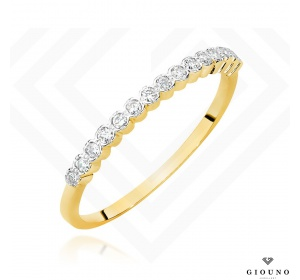 Złoty pierścionek obrączka z BRYLANTAMI 0,07ct  pr 585