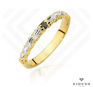 Złoty pierścionek z CZARNYM BRYLANTEM pr 585