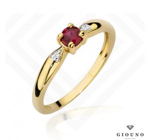 Złoty pierścionek  z RUBINEM i BRYLANTAMI pr 585
