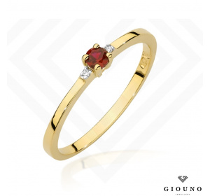 Złoty pierścionek z RUBINEM i BRYLANTAMI pr.585