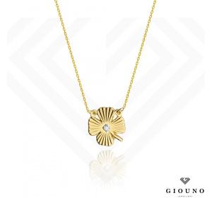 Złoty naszyjnik z BRYLANTEM celebrytka kwiatek pr.585