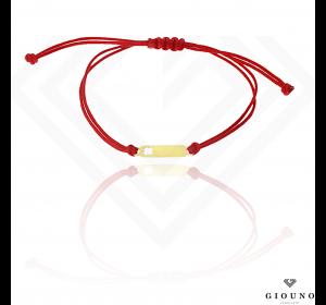 Bransoletka na czerwonym sznurku z BLASZKĄ koniczynka pr.585