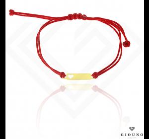 Bransoletka na czerwonym sznurku SERCE z blaszką pr.585