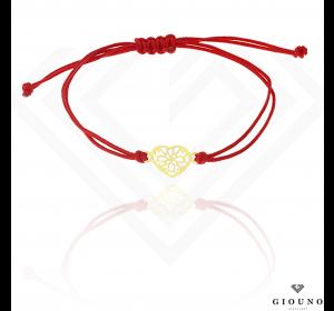 Bransoletka na czerwonym sznurku SERDUSZKO ażurowe pr.585